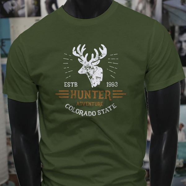 Colorado State Hunting Hunter Factory Outlet Hunt Mens Military Green T-Shirt T-Shirt Men Male Swag Custom Short Sleeve Boyfriend's XXXL Cou