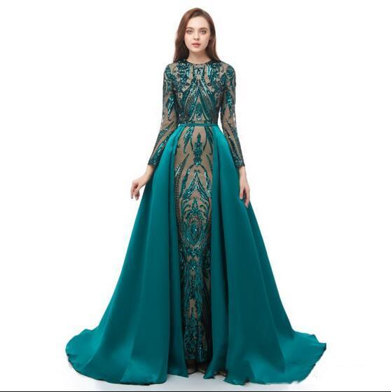 Real Hunter Green Mermaid Prom Dresses With Removeable Overskirts Train Luxury Sparkly Pattern Lace Sequins Formal Long Arabic Evening Gowns