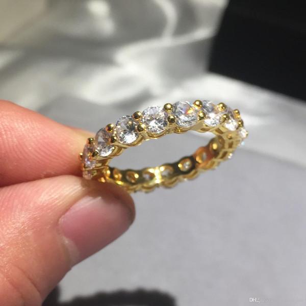 Бренд 925 СЕРЕБРЯНОЕ Золото УСТАНОВКА БЛИЗКИ алмазная картина полное Кольцо ВЕЧНОСТЬ ЗАНЯТЬ ОБРАЩЕНИЕ СВАДЬБА Каменные кольца Размер 5,6,7,8,9,10