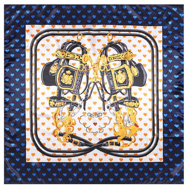 Envío gratis Impreso bufanda de seda de las mujeres 90 cm * 90 cm nueva cadena de amor de las señoras de la simulación de seda gran mantón cuadrado