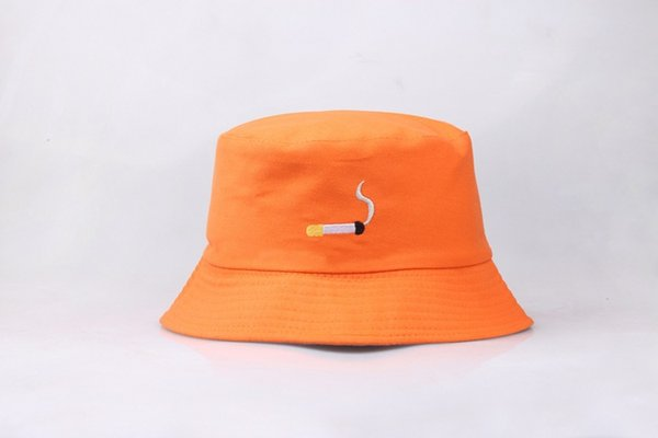 2019 New Hot Cigarette Fisherman's Hat Women Tidy Korean Version Embroidery Pot Cap Men Street Personality UV Protetion