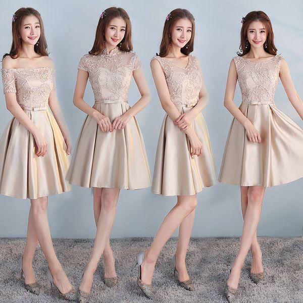 Compre Vestidos Cortos De Dama De Honor Baratos De País Para La Boda Una Línea De Vestidos Formales Vestido De Encaje Modesto Vestido De Dama De Honor