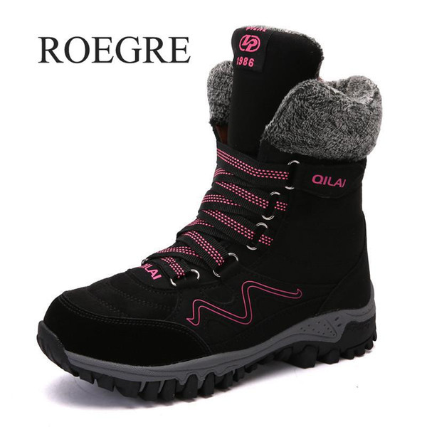ROEGRE 2018 New Women Boots High Quality Leather Suede Winter Boots Women Keep Warm Lace-up Waterproof Snow Botas Mujer