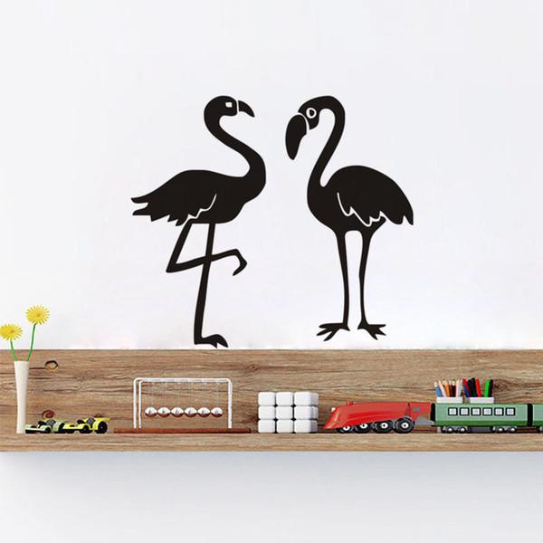 Dos Flamingo Pegatinas de Pared Decoración para el hogar sala de estar Grandes Aves Pegatinas de Pared Para Niños Habitación Bebé Nursery Tatuajes de Pared Muraux