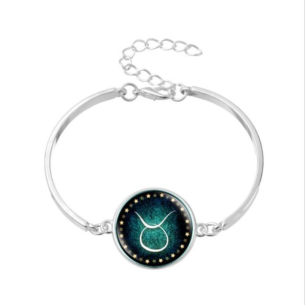 Wholesale Simple Silver Chain Alloy Bracelet & Bangles For Womens Mens 12 Horoscope Zodiac Taurus Time Gem Glass Cabochon Charm Jewelry Gift