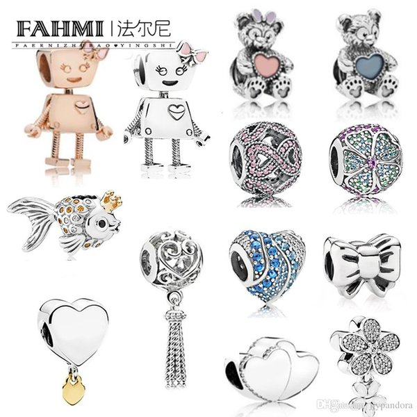 FAHMI 100% 925 Sterling Silver Charm BELLA BOT Fiocco Dazzling Daisy ENCHANTED HEART HANGING Glorious Blooms BELLA BOT FLOATING HANGING