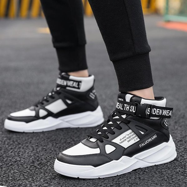 Fashion Men Casual SShoes Sneakers High Top Trend Man Shoes Brand Comfortable Breathable Walking Black Leather Mens