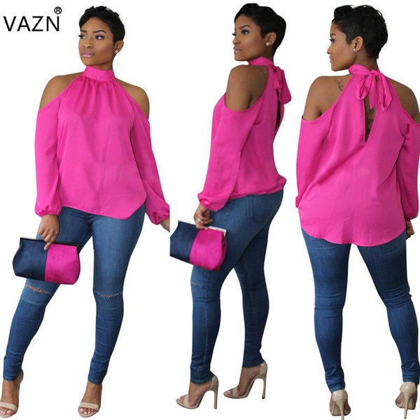 Vazn 2018 Novelty Arrive Best Elegant Sexy Style 2018 Women Tees Solid Halter Full Puff Sleeve Off Shoulder Chiffon Tees 8202 J190427