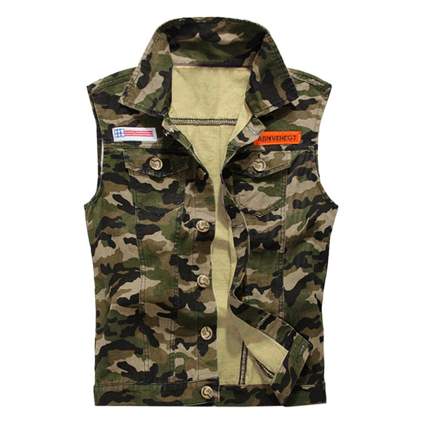 2019 man cowboy camouflage jacket men denim vest vintage sleeveless washed jeans army waistcoat plus size 4xl thumbnail