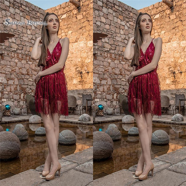 2019 Short Red Sequined Aline Homecoming Cocktail Dress High-end Customed Made Vestidos De Novia Party Gown