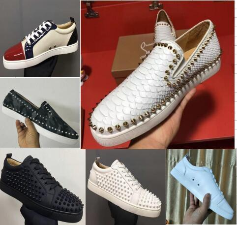 2020 Shoe New Luxury Black Gold Glitter Sequins Red Bottom Shoes Designer High Top Spikes Toe Genuine Leather Flats Party Wedding Sneakers Tennis