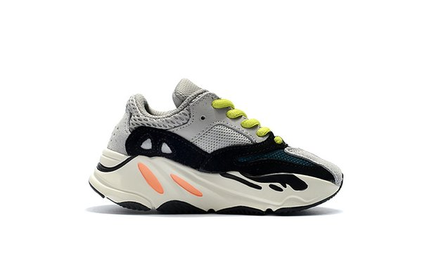 Children\'s 700 Wave Runner Kids Running Shoes Solid Grey Infant Toddler Kanye West Trainers Small Big Boys Girls Designer Baby Sneakers