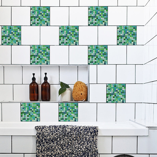 Personalized Creative DIY Green Mosaic style Tiles Sticker Pattern Bathroom Waterproof Removable Kitchen Anti Oil Living Room Home Decor