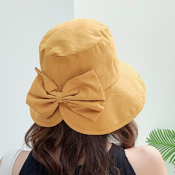 Plain Wide Brim Cappello per il sole signore grande Bowknot Flat Top Cappello da pescatore Solid SUOGRY donne cappelli estivi donna Cotton Bucket Packable