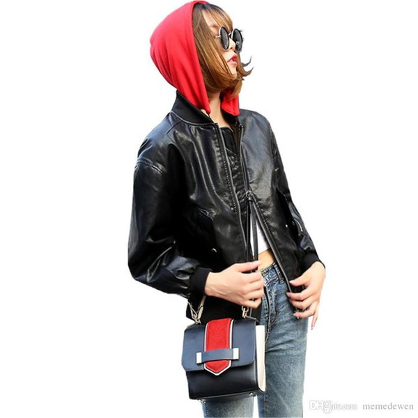 New Autumn Women Hooded Faux Leather Jacket Embroidery Letter Bomber Jacket Batwing Sleeve Loose PU Punk Outwear NG-009