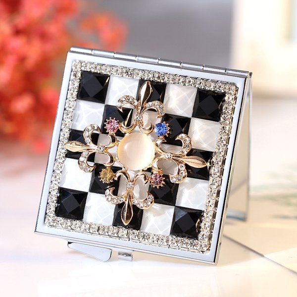Cute Mini Folding Portable make-up Cosmetic beauty makeup compact pocket mirror,girl gifts,bling crystal Christmas crossing