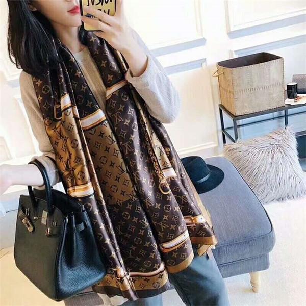 Foulard en soie de femmes à la mode des femmes classiques châle imprimé foulard en soie mince douce casual I châle de plage 190 * 80 cm