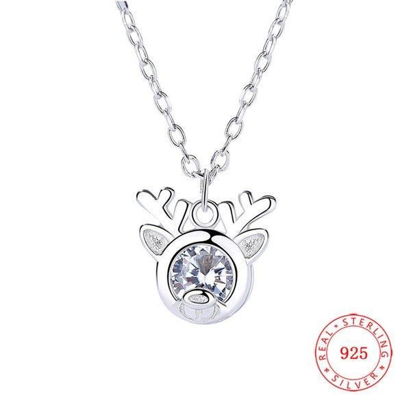 Latest Tops for Girls rhodium plated 925 Sterling Silver Christmas Gift Crystal Deer Head Antler Necklace Jewelry
