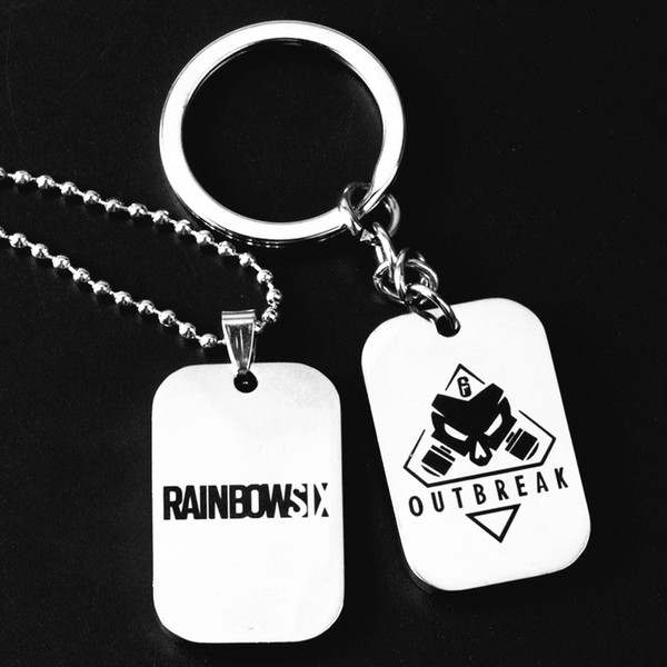 12pcs rainbow six 6 siege keychain men women skull stainless steel metal key chains anime key ring fashion gift jewelry pendants, Silver