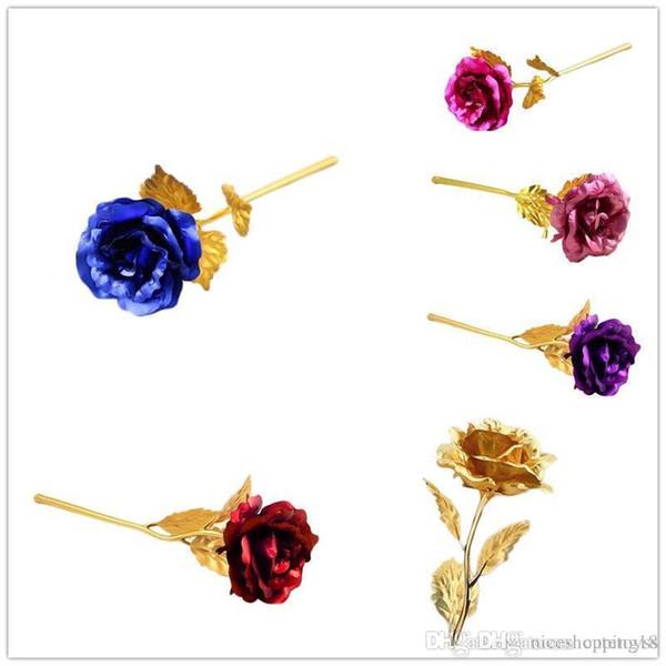 Good 24K Gold Foil Plated Rose Romantic Valentine's Day Gift Golden Rose Flower for Mom,for girlfriend for family gift