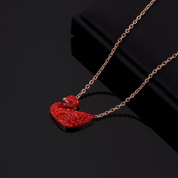 Takı Kadınlar Hediyeler Kolye Kadın Kişilik Kristal Swan kolye Köprücük Zinciri Moda Yeni Rose Gold kolye Toptan