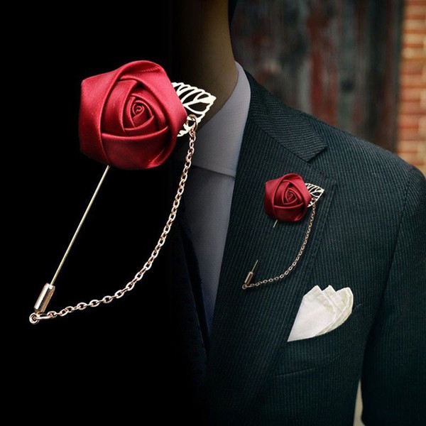 1pc Women Men's Suit Gold Leaf Rose Flower Brooches Lapel Pins Canvas Fabric Ribbon Tie Pin Collar Flower Long Needle With Chain