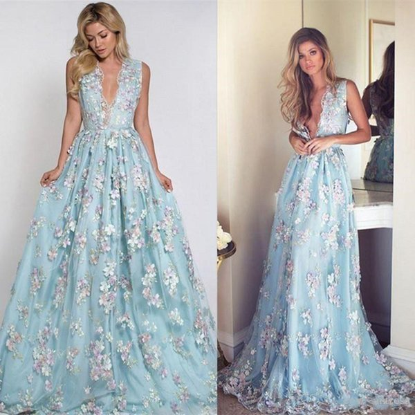 2019 fairy Evening Dresses long with 3D floral colorful flowers evening gowns chic boho Prom Dresses Party Wear custom made Abendkleider