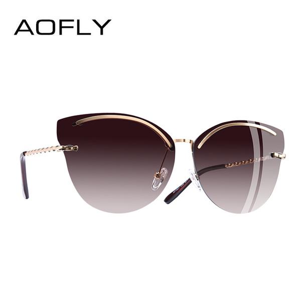 Aofly marke design cat eye sonnenbrille frauen mode spiegel reflektierende sonnenbrille randlose rahmen legierung beine brille uv400 mx190723