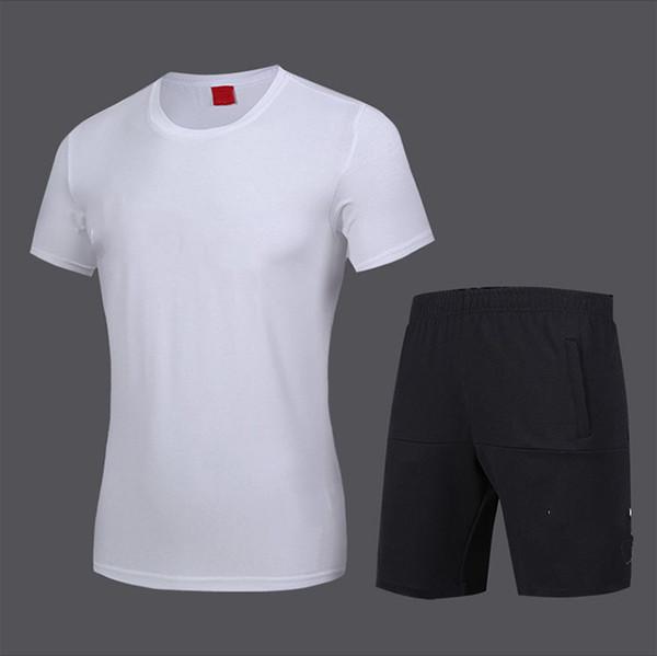 Fatos de treino dos homens 2019 Nova Moda Ativo Pure Color Imprimir Respirável Macio Pulôver T-shirt Shorts de Algodão Mistura Tamanho L-5XL