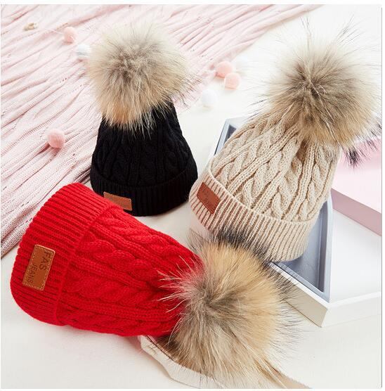 Kids Pom Pom Beanie Winter Warm Hats Baby Boys Girls Solid Color Knit Sports Ski Cap 6 Colors 15pcs OOA7162