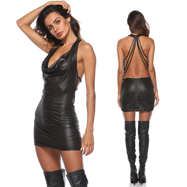 Black Criss-cross PVC Night Club Dress Women Sexy Faux Leather Street Style Dresses Short Pole Dance Costume