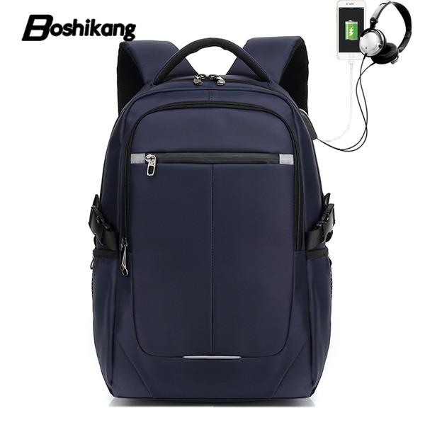 "Boshikang 15""17"" Laptop Backpack USB Charge Computer Backpacks Waterproof Bag Brand High Quality Travel School Backpack for Male"