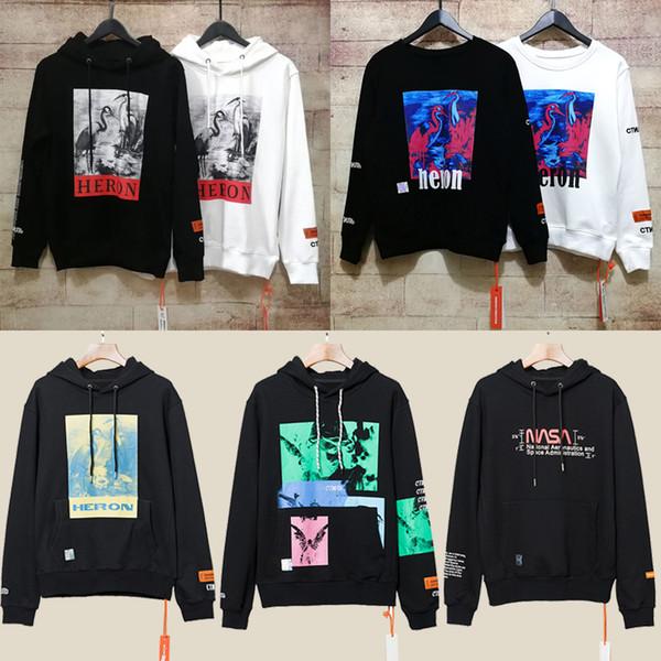 top popular Heron Preston Hoodies Sweatshirt Streetwear Men Kanye West Hip Hop Heron Preston Hoodie Pullover Crane Print Sweatshirts Black White NCI0912 2019