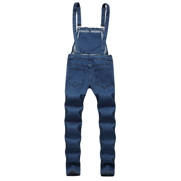 2019 Fashion Men's Ripped Jeans Jumpsuits Hi Street Distressed Hole Denim Bib Overalls For Man Suspender Pants Size M-XXL