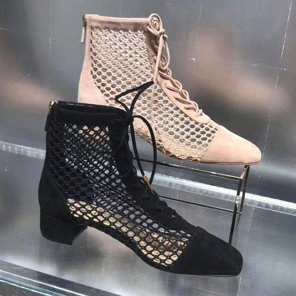 2019 совершенно новые женские летних полусапожки роскошных женщин на низкий каблук вырезы сапоги обувь чистых ботинки пятка: 3 см высокого качество!