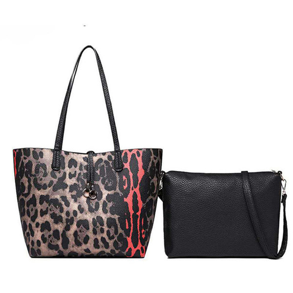 good quality Fashion Leopard Large Women Handbag Brand Designer Shoulder Bag For Female Crossbody Bags Pu Leather Lady Big Totes 2 Pcs