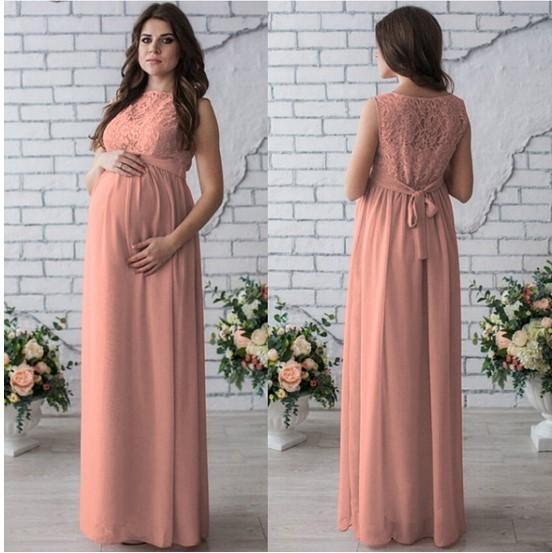 F08 # modelos de explosión 2019 primavera y verano embarazadas cuello redondo vestido de encaje de alta gama sin mangas