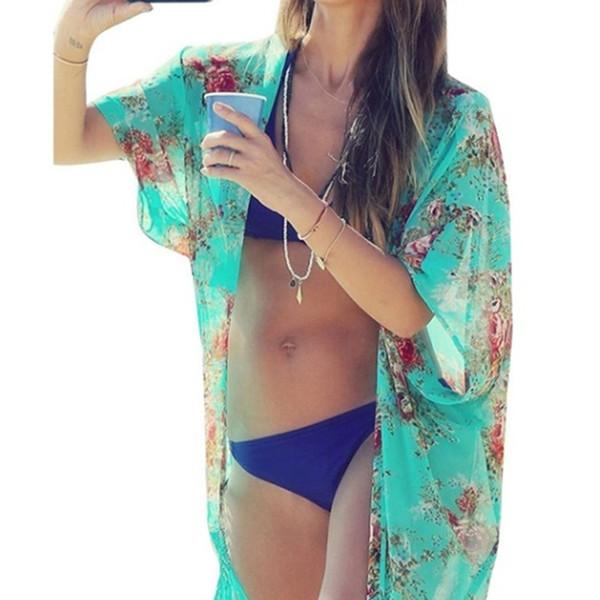 Femmes Plage Blouse Cover Up Ladies Protection contre le soleil Vêtements Vert Frangé Châle Kimono Mousseline De Soie Chemise Mousseline De Soie Tunique Kimono