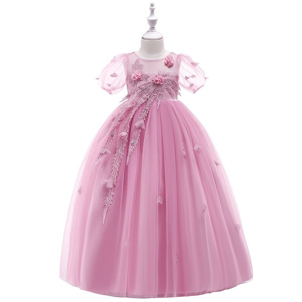 Princess Lace Flower Girl Dresses Tulle Girls Pageant Dresses First Communion Dresses Kids Wesdding Party Gowns