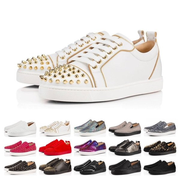 Cheap Sale Designer Shoes Brand Studded Spikes Flats shoes Red Bottoms shoes luxury Mens Womens Party Genuine Leather Sneakers