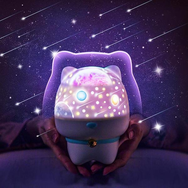 BRELONG Bluetooth Music Star projector night light, 360-degree rotating pet star lights, 5 brightness adjustments White Pink