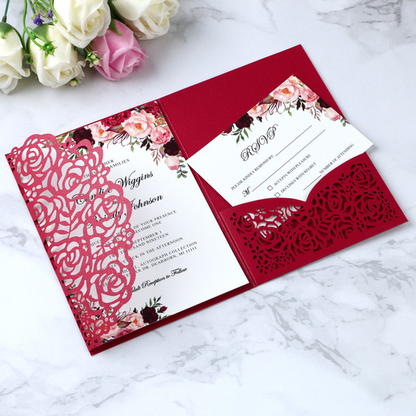 2019 Elegant 3 Folds Red Invitations Cards For Wedding Bridal Shower Engagement Birthday Graduation Party Inviting Wedding Invitations Examples