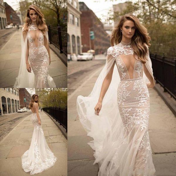 2018 Plus Size Berta Mermaid Wedding Dresses Sexy Cape Plunging Neck Lace bridal gowns With Detachable Applique robes de mariée Abendkleider