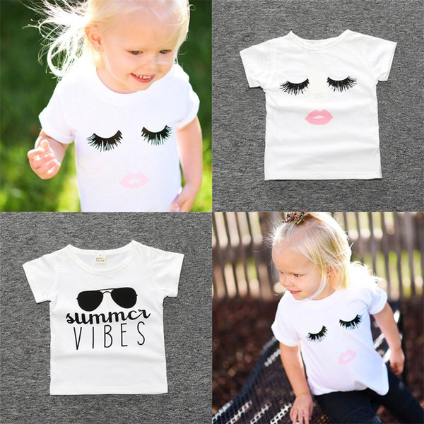 2 styles Newborn baby girl kids clothes Eyelashes Tops T-shirt Sunglasses letters Printed T-shirt Kids Designer Clothes Girls DHL JY317