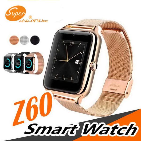 Lüks Bluetooth Akıllı İzle Z60 SmartWatch telefon NFC Desteği SIM TF Kart Giyilebilir Cihazlar SmartWatch iOS Android VS Için Q18 Akıllı saatler