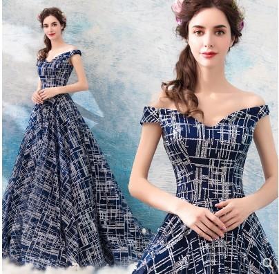 Новое поступление горячая распродажа специальная мода подиум ежегодное собрание фэнтези элегантное платье глубокий ослепительный синий звездный банкет роскошный приливное длинное платье