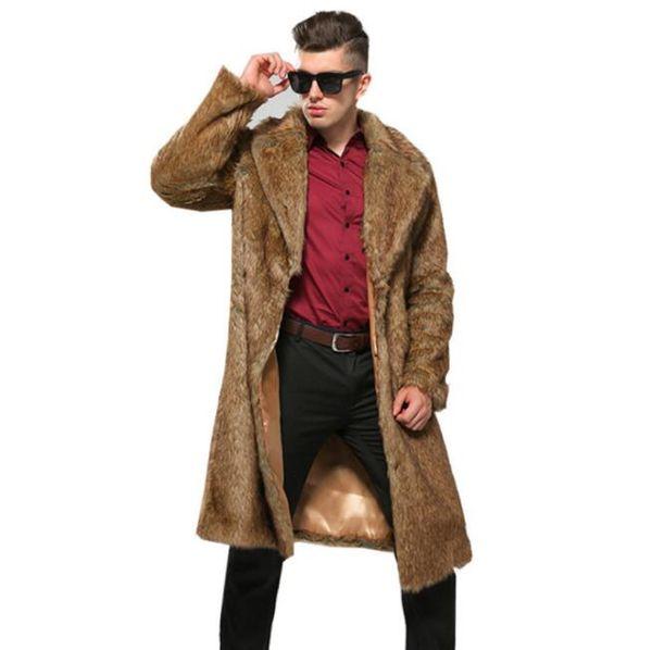 Automne hommes veste en cuir vison brun faux hiver épaississent hommes manteau en cuir de fourrure chaud vestes mince Jaqueta de couro de B61 de mode
