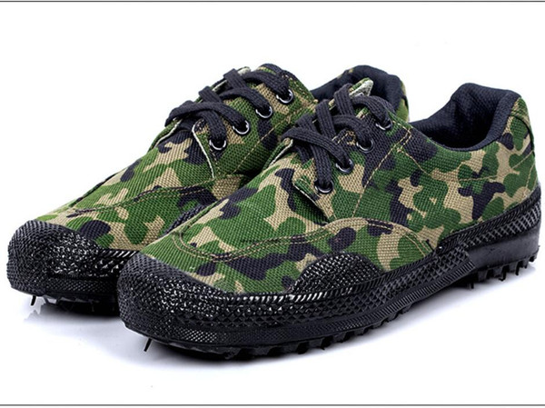 Military training camouflage mountaineering combat walking shoes canvas low-cost strap sports promotion shoes free express mail to countries