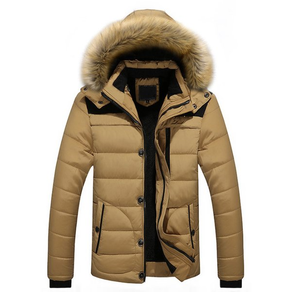Autumn Winter With Fur Hooded Jacket Men Parka Warm Hooded Fur Collar Coats Winter Jackets Men Overcoat Warm M- 5XL