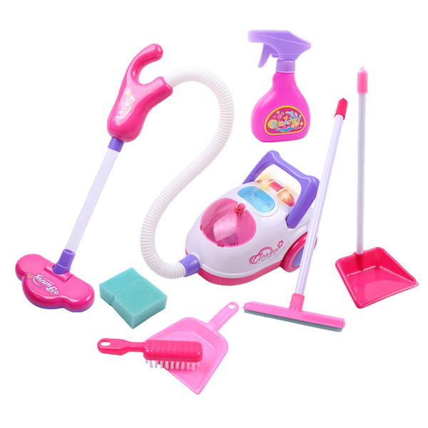 top popular Kids Cleaning Vacuum Set Little Pretend Children Cleaning Play Set with Broom, Brush, Dust Pan and Vacuum Cleaner & Accessories 2021
